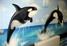 Cruise ship mural painted in a children's hospital in Brighton