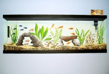 Trompe l'oeil fish tank painted inset into a bedroom wall