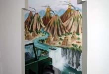 Indiana Jones themed mural painted in bedroom