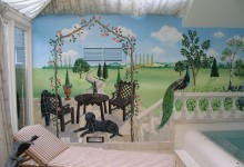 Mural painted for an indoor private pool in Hampshire