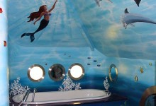 Underwater mural painted in children's bathroom