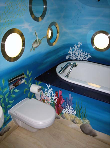 Underwater Mural Painted In Children S Bathroom