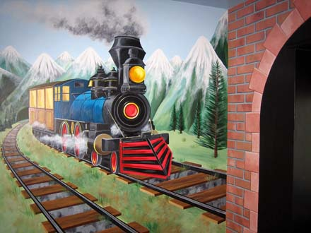 Steam Train And Tunnel Mural Painted In A Bedroom In Brighton