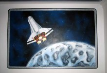 Spaceship mural painted in boy's bedroom in Brighton