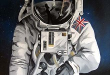 Space mural featuring an astronaut on the moon
