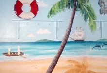 Seaside mural painted in a nursery in Chelsea