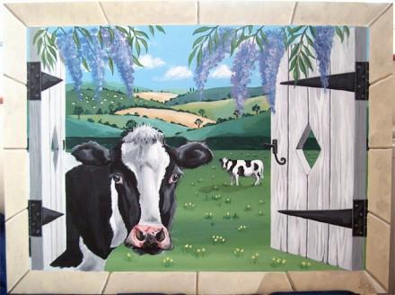 Trompe L Oeil Window Looking Onto A Field Of Cows