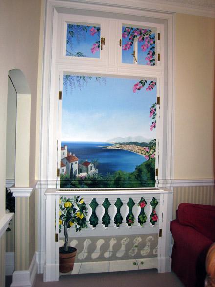 Trompe L Oeil Doorway Painted To Disguise A Radiator Cover