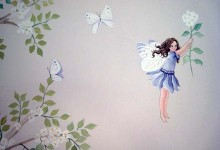 Fairy woodland mural painted in a girl's bedroom