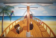 Pirate themed mural painted for a toddler's bedroom