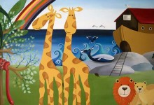 Noah's ark themed nursery mural