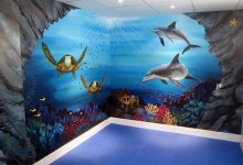 Underwater mural painted for Swiss Smile Dental Clinic, Mayfair