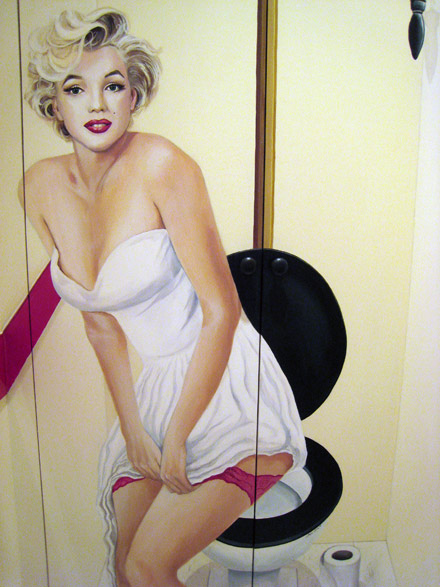 marilyn monroe mural painted in a downstairs toilet. Black Bedroom Furniture Sets. Home Design Ideas