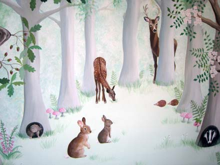 Woodland Mural Painted In A Nursery