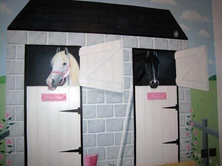 Children s murals. Mural of horses stables painted in girl s bedroom