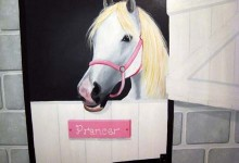 Mural of horses stables painted in girl's bedroom