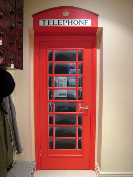 Queen S Guard And Telephone Box Painted On Interior Doors