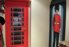 Queen's Guard and telephone box painted on interior doors
