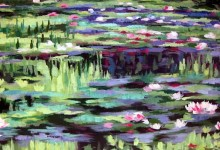 Mural of Monet's waterlilies on bedroom wall