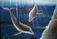 Underwater themed mural painted in dental surgery, Swiss Smile in Zurich