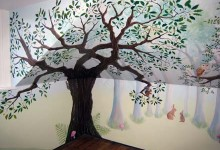 Children's bedroom woodland mural painted in London