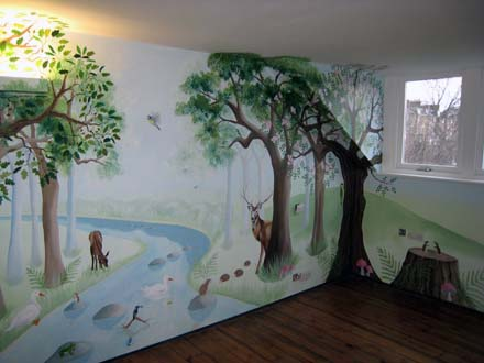 Children S Bedroom Woodland Mural Painted In London
