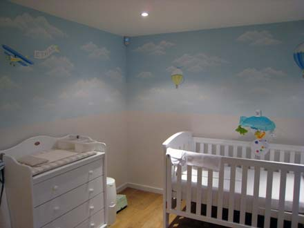 Nursery Mural Of Clouds And Hotair Balloons