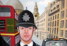Policeman and traffic light mural painted on a bathroom door