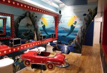 Underwater mural painted for Children's hair salon Tantrum
