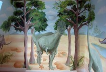 Children's bedroom mural of dinosaurs