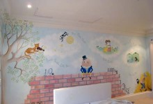 Nursery rhyme mural painted in a nursery in Oxshott