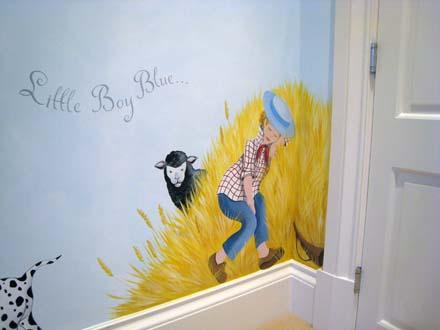Nursery rhyme mural painted in a nursery in Oxshott