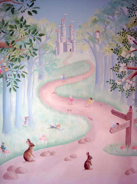 Children s mural of fairies in the forest for Fairy forest mural