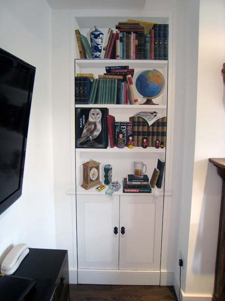 Trompe L Oeil Bookcase Painted On A Lounge Door
