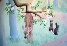 Woodland mural painted for a nursery in London