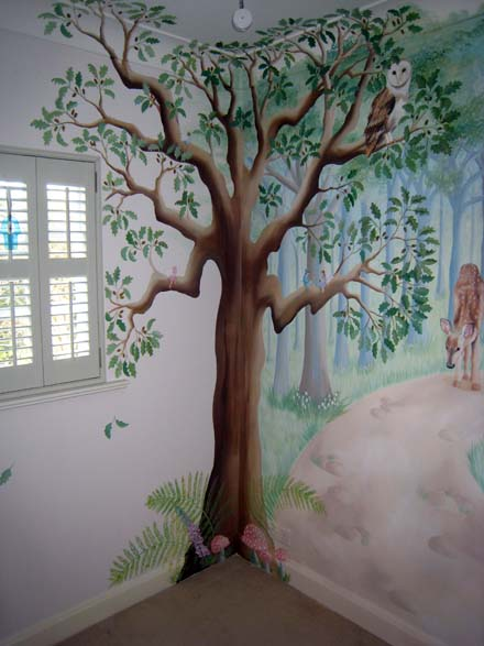 Fairy woodland mural in nursery for Fairy garden wall mural