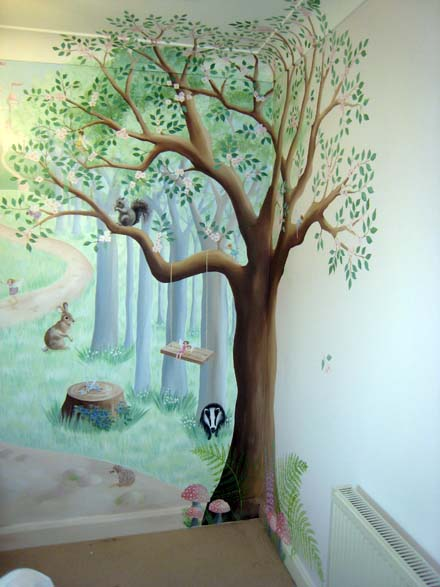 Fairy woodland mural in nursery for A mural is painted on a