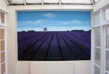 Lavender field mural painted on a dining room wall in London