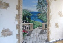 Trompe l'oeil view of the Italian Riviera painted for a wine bar