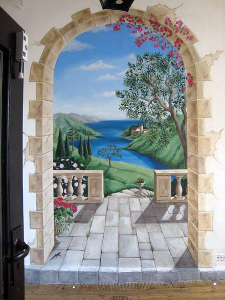 trompe l oeil view of the italian riviera painted for a wine bar. Black Bedroom Furniture Sets. Home Design Ideas