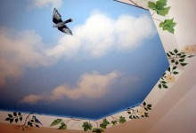 Trompe l'oeil window painted on a basement ceiling