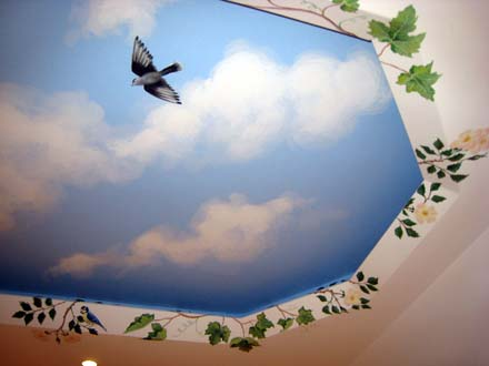 Trompe L Oeil Window Painted On A Basement Ceiling