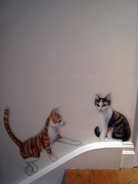 Trompe L Oeil Mural Of Two Cats Walking Up The Stairs