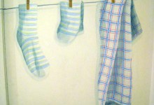 Trompe l'oeil washing line painted in a hallway in a London apartment