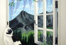 Trompe l'oeil window painted looking out to an Alpine view