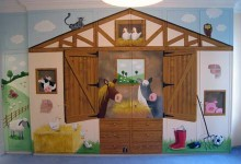 Farmyard theme mural painted on wardrobes