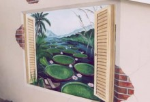 Trompe l'oeil window painted looking out ont the Amazon River