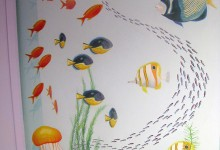 Trompe L'oeil fish tank painted in a child's bathroom