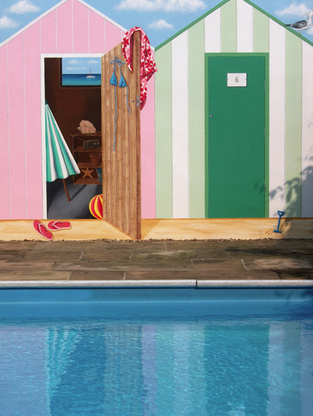 Trompe L Oeil Beach Huts Painted Looking Onto An Outdoor