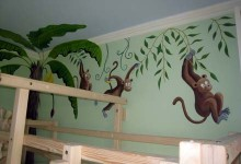 Children's jungle mural themed bedroom in Milan